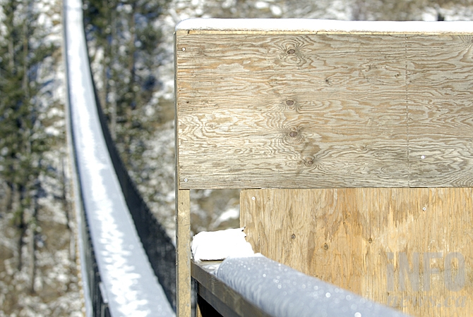 The entrance to the first bridge at Kelowna Mountain has been boarded up recently.