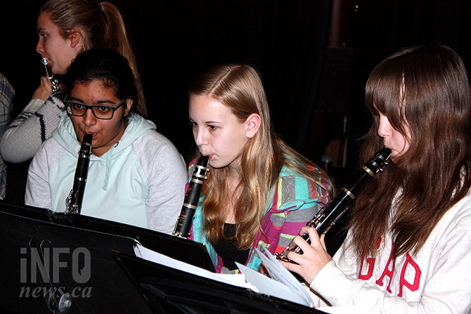 Alex Brunner, Jasdeep Sandhu, Kelsey Bayda and Olivia Osland practice for a series of Christmas concerts in Osoyoos.