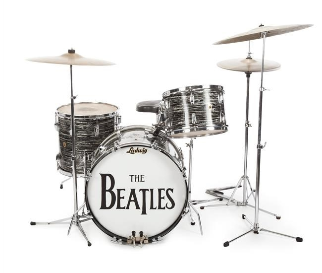 This photo provided on Friday, Dec. 4, 2015, shows a drum kit that Ringo Starr used to record some of the Beatles' early hits, sold for $2.2 million at an auction to Indianapolis Colts owner Jim Irsay.