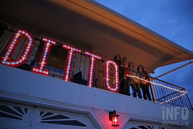 Todd, Jacquie, Isabella and Charlotte Ford spent about three days creating their large 'ditto' Christmas display.