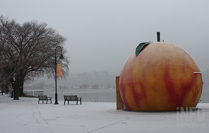 Penticton's famous Peach Concsession with the first dusting of snow last week.