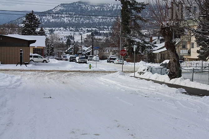 Snow clearing efforts did not appear to have begun on Penticton's side streets as of Monday morning, Dec. 28, 2015.