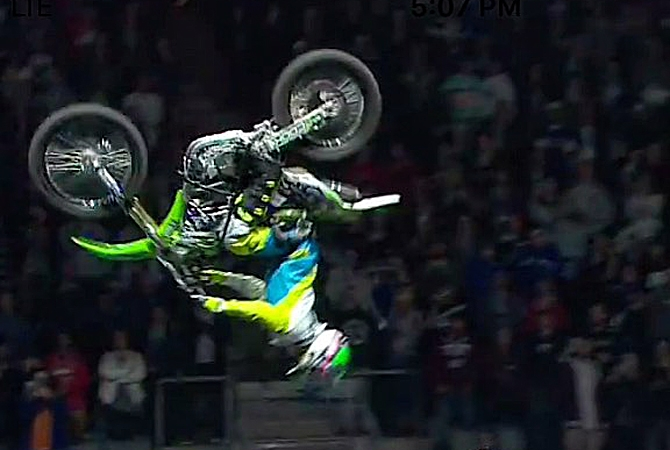 Bruce Cook is the first paraplegic to land a back flip on a motorcycle in front of an audience.
