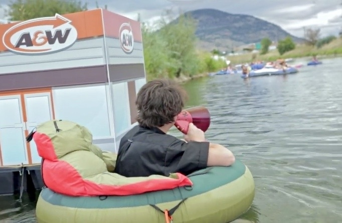 Floaters on the Okanagan river channel in Penticton were treated to a free burger at the temporary A&W 'float-thru'.