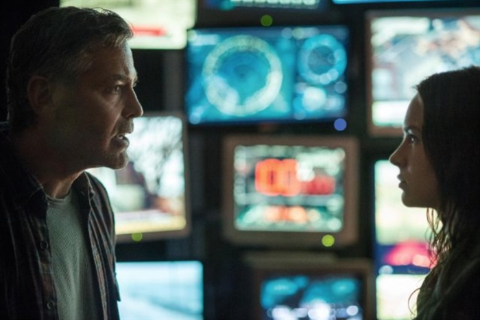 Still of George Clooney and Britt Robertson in Tomorrowland set for release on May 22, 2015.