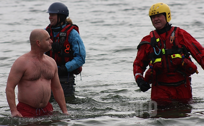 Last man standing: Dipper Mark Lasinski lasted longer than anyone else in this year's Summerland Polar Bear Dip.