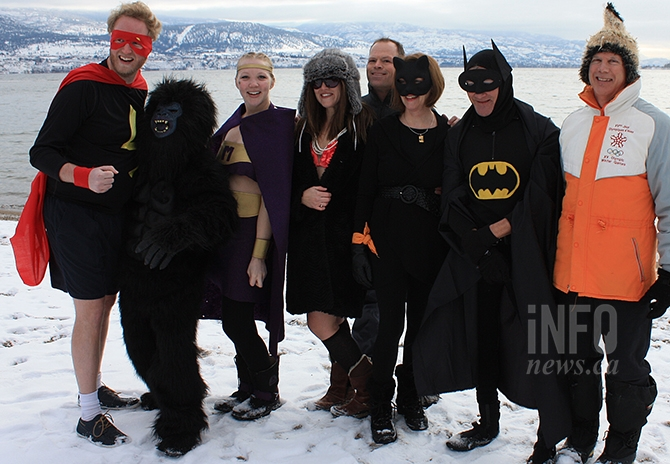 A superheros theme was noticeable at this year's polar bear dip in Summerland.