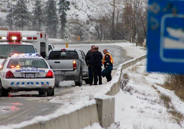 The driver of a pickup truck hit a concrete barrier on Highway 97 near Summerland, Saturday, Jan. 16, 2015.