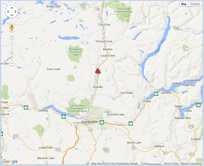 The location of the crash, south of Barriere, B.C.