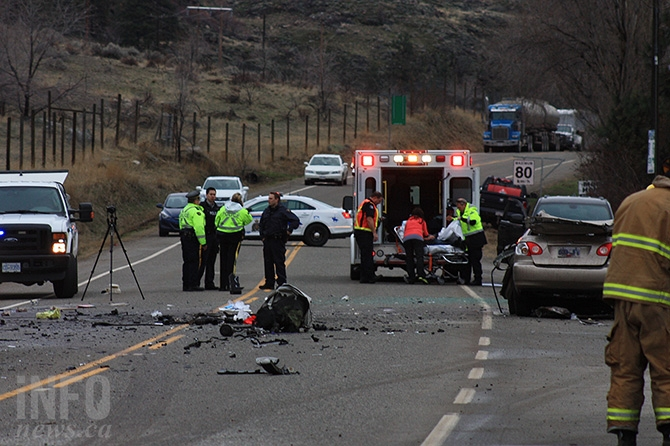 Emergency personnel at the scene of a head on collision at Vaseux Lake Provincial Park on Highway 97 on Jan. 24, 2016. An Oliver woman was taken to Kelowna General Hospital after being seriously injured in the incident.