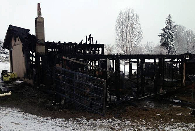 A barn fire in Lake Country on Monday, Feb. 1, 2016.