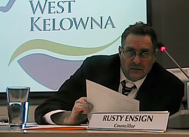 Coun. Rusty Ensign in a screen shot from a West Kelowna council meeting.