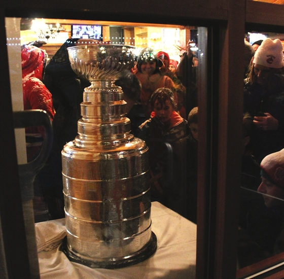 The crowd waits to have their photo taken with Lord Stanley's Cup at Sun Peaks Resort, Wednesday, Feb. 3, 2016.