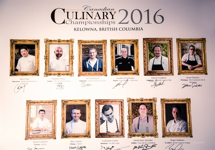 All eleven competing chefs signed their photos for the walls of the Culinary School at Okanagan College in Kelowna.