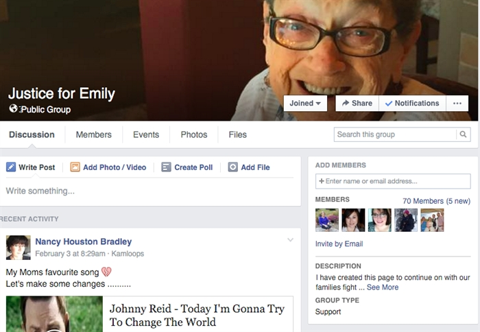 The Justice for Emily Facebook page has accumulated a number of followers since Bradley took her story public