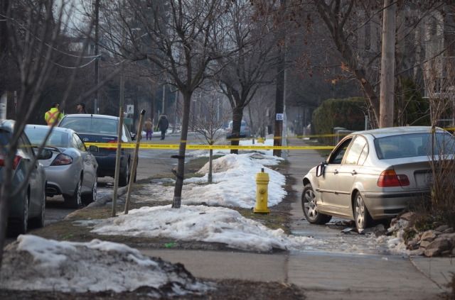 Police cordoned off a section of 27 Avenue Feb. 10 to investigate the bizarre incident.