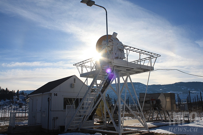 The Dominion Radio Astrophysical Observatory's solar flux monitor. The telescope is used to monitor the sun, accumulating data used by scientists, businesses and agencies around the world.