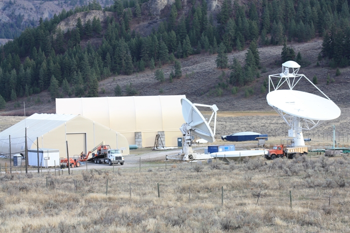 Experimental telescopes at the observatory site.