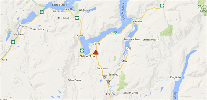 Highway 1 east of Salmon Arm is closed in both directions because of a vehicle incident, according to Drive B.C.