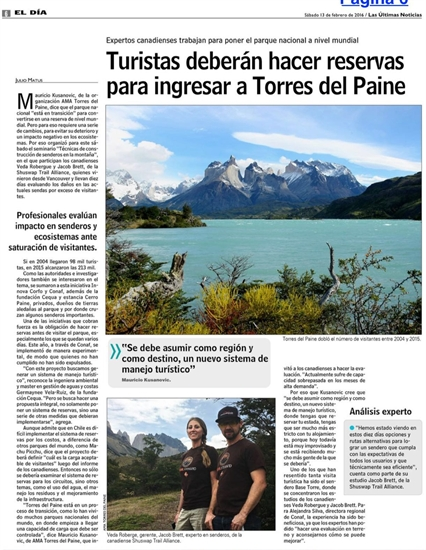 The article in Chile's national newspaper, El Dia, about the partnership between the Shuswap Trail Alliance and AMA Torres del Paine.