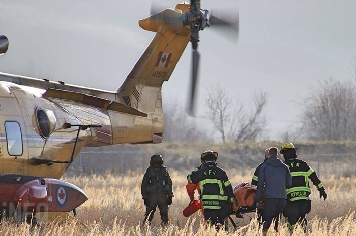 After crews successfully pulled the injured man from the vehicle using the jaws of life, he's transported to the CH-149 Cormorant helicopter for medevac