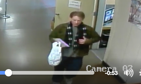 Screenshot of the suspect who stole an envelope of cash from the Shatford Centre in Penticton Monday, Feb. 29.