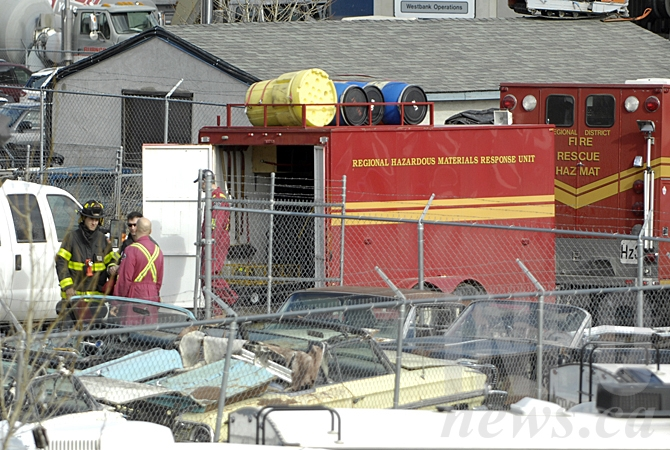 A hazmat team was called in to help police execute a search warrant at a warehouse on Auburn Road March 2, 2016.