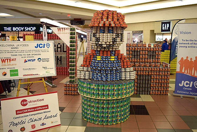 Kelowna Jaycees-JCI Kelowna won people's choice with their display at Canstruction.