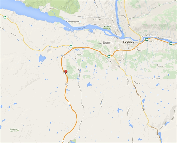 Approximate location of fatal single vehicle crash about 27 kilometres south of Kamloops on Highway 5 near the Inks Lake brake check.
