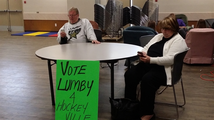 Vernon-Monashee MLA Eric Foster puts in some time voting for Lumby in the Hockeyville contest,
