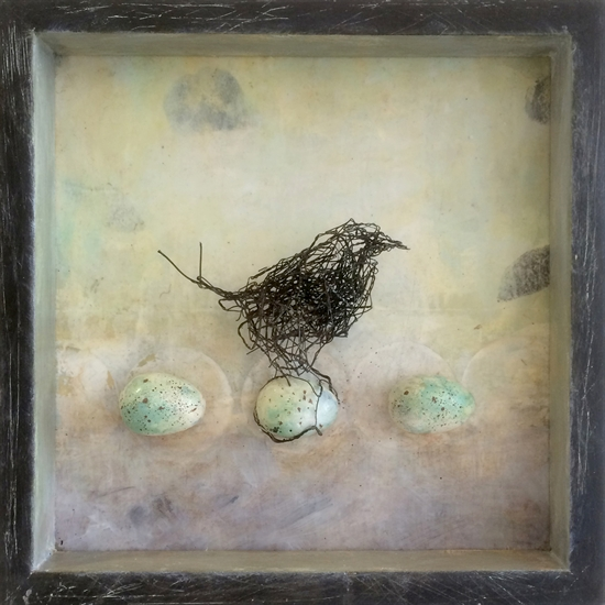 Susan McCarrell Clarity, 2016, acrylic, wire & mixed media with shadow box, 10 x 10 inches