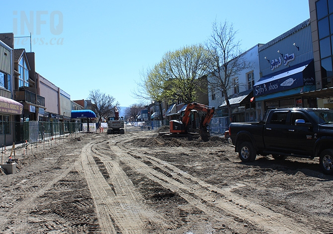 The 200-block of Main Street in downtown Penticton is currently under construction as part of a revitalization project.