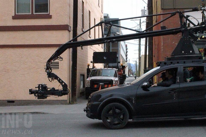 While there's not a lot of action on set, a camera rigged up to an SUV is one of the main pieces of equipment used for filming. Here is it on Fourth Avenue.