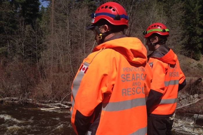 Penticton Seach and Rescue volunteers were part of the initial search until it was suspended due to the fast flow creek.