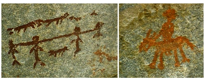 Native pictographs in the Simlikameen area include the 'Prisoner Paintings,'  which appears to depict four Indians chained together surrounded by what look to be representations of guard dogs.