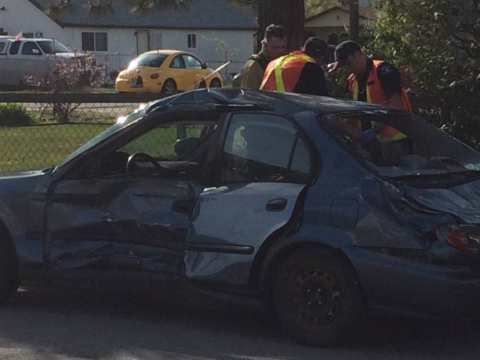 This Honda was badly damaged after colliding with a delivery truck April 19, 2016 in Penticton.