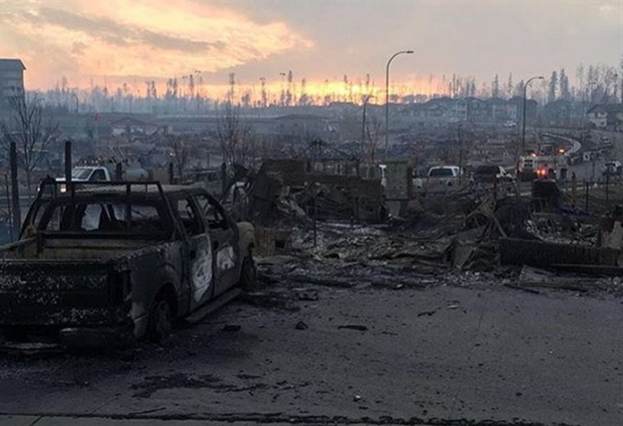 A wildfire has destroyed much of this Fort McMurray neighbourhood.