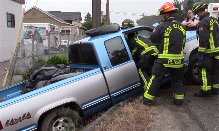 A 55-year-old West Kelowna man was taken to hospital with serious but non-life threatening injuries after driving his pickup truck through a chain link fence and into the ditch on Bartley Road in West Kelowna, Thursday, May 19, 2016.