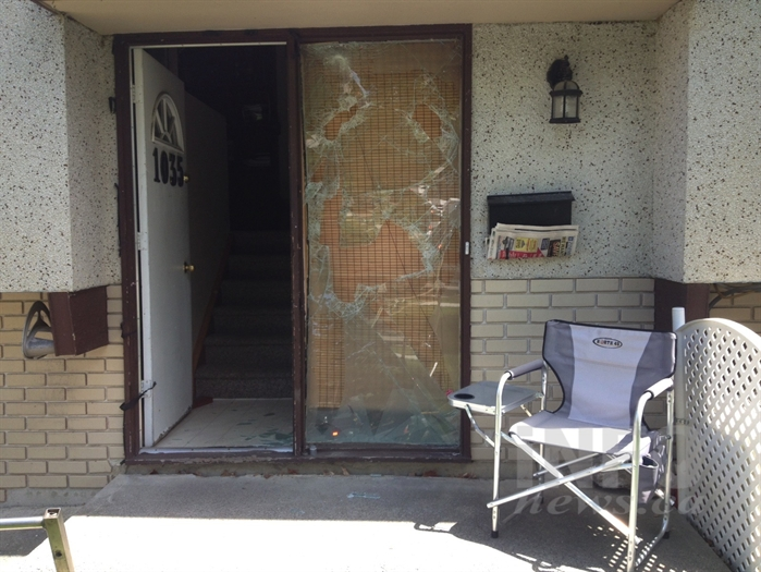 Firefighters smashed a window next to the front door to gain entry to the home rescuing three cats.