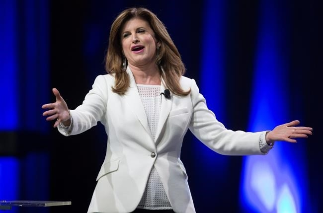 Interim Conservative Leader Rona Ambrose gestures while speaking to delegates during the 2016 Conservative Party Convention in Vancouver, B.C. on Thursday May 26, 2016.