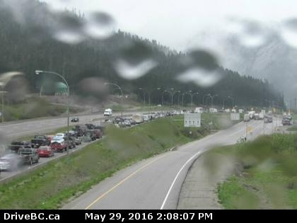 Backed up traffic on Highway 5 southbound can be seen in this image from the Drive B.C. webcam at the Zopkios Rest Area near the Coquihalla Summit, Sunday, May 29, 2016.