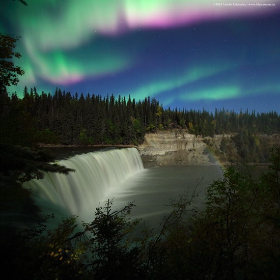 Aurora over Lady Evelyn Falls, Kakisa, NWT.