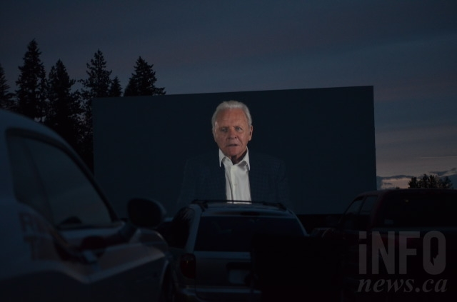 Sir Anthony Hopkins addressed the audience from the biggest screen in the Okanagan — the Starlight Drive-in — at the world premiere of Blackway June 2, 2016.