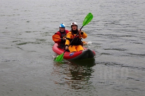 Kamloops Search and Rescue volunteers Michelle Liebe and Chris Koch hit the Thompson River in the groups's newly purchased inflatable kayak, Thursday, June 9, 2016.