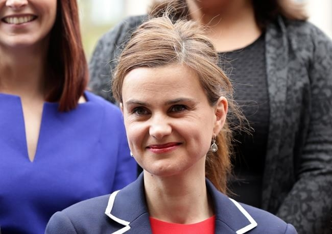 FILE PHOTO - In this May 12, 2015 photo, Labour Member of Parliament Jo Cox poses for a photograph.