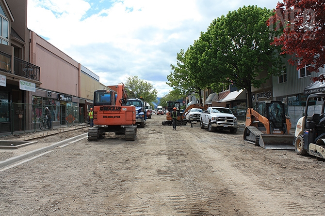 By April 25, the outline of the street and sidewalk is beginning to take shape.