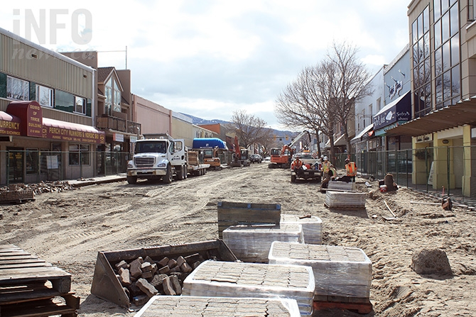 Construction gets underway in March as the pavement is ripped up and paving stones removed from the sidewalks.