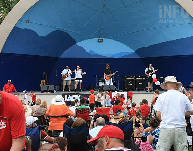 Citizens packed Gyro Park Friday afternoon to enjoy Canada Day celebrations. On stage in photo is Jack and Jill