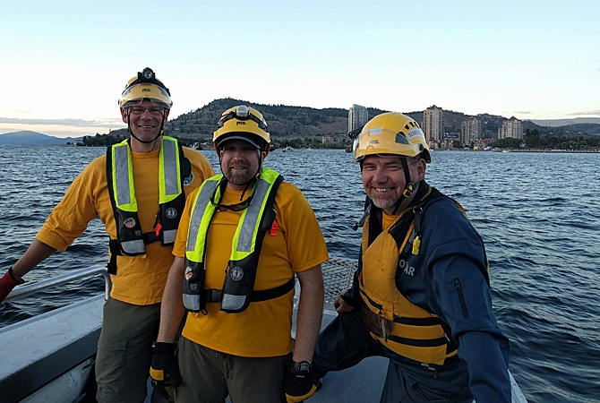 The Canada Day patrol at the Kelowna waterfront included two RCMP boats and Inland Divers Underwater Service Ltd. who helped Central Okanagan Search and Rescue maintain a safe perimeter around the fireworks barge.