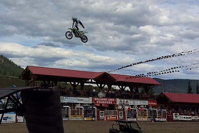 Kelowna FMX pro Kris Garwasiuk performed at the 90th annual Williams Lake Stampede over the weekend.